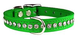 Emerald Green Signature Leather Crystal Collar
