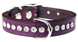 Grape Signature Leather Crystal Collar