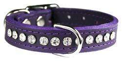Purple Signature Leather Crystal Collar