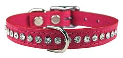 Raspberry Signature Leather Crystal Collar