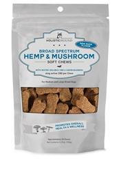 Broad Spectrum Hemp and Mushroom Soft Chews Duck, 6 mg Water Soluble CBD, 0.7 oz trial size bags (4 chews/bag) 10 pack box