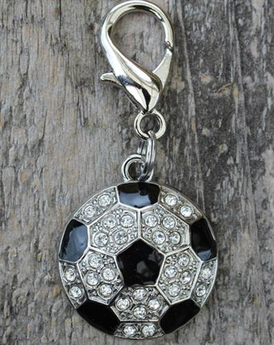 Crystal and Enamel Soccer Ball Dog Collar Charm