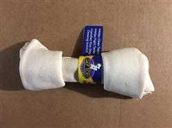"""7-8"""" White Knotted Rawhide Bone From Brazil With Cigar Band & UPC"""