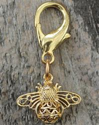 Busy Bee Gold Filagree Dog Collar Charm