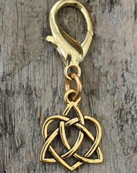 Celtic Heart Dog Collar Charm - Gold