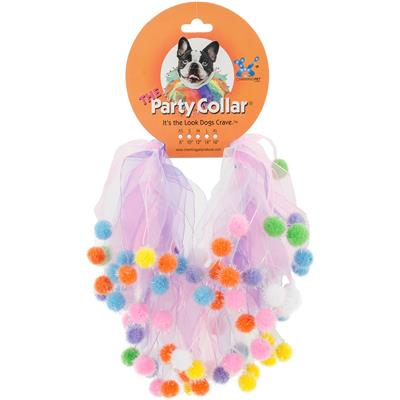 Charming Pet Birthday Collar Pink & Purple Pom Pom