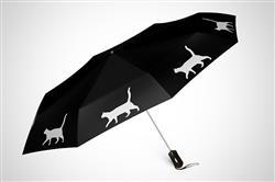 """Cat 12"""" Mini Foldable Auto Open and Close Premium Umbrella White on Black"""