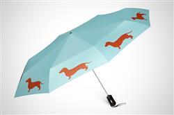 "Dachshund 12"" Mini Foldable Auto Open and ClosePremium  Umbrella Brown on Island Pparadise Blue"