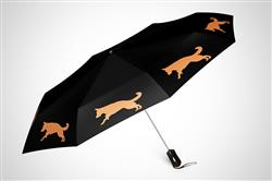 "German Shepherd 12"" Mini Foldable Auto Open and Close Premium Umbrella Orange on Black"