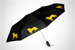 """Golden Retriever 12"""" Mini Foldable Auto Open and Close Premium Umbrella Gold on Black"""
