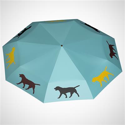 "Labrador Retriever 12"" Mini Foldable Auto Open and Close Premium Umbrella Black, Yellow, Brown on Island Paradise Blue"