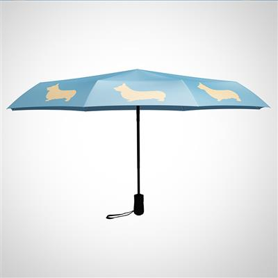 "Welsh Corgi 12"" Mini Foldable Auto Open and Close Premium Umbrella Tan on Island Paradise Blue"