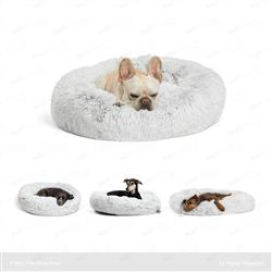 Calming Shag Donut Cuddler Pet Bed - Frost