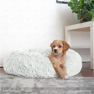 The Original Calming Shag Donut Cuddler Pet Bed - Frost