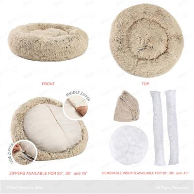 The Original Calming Shag Donut Cuddler™ Pet Bed - Taupe