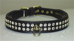 "Black Vinyl Majestic 2-Row Jeweled 7/8"" Tapered Collars"