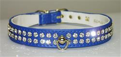 "Blue Vinyl Majestic 2-Row Jeweled 7/8"" Tapered Collars"