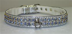 "Silver Vinyl Majestic 2-Row Jeweled 7/8"" Tapered Collars"