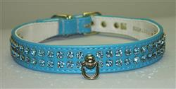 "Turquoise Vinyl Majestic 2-Row Jeweled 7/8"" Tapered Collars"