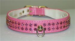 "Pink Vinyl Majestic 2-Row Jeweled 7/8"" Tapered Collars"