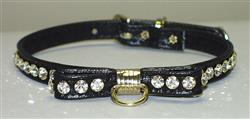 Black Majestic BowTie Vinly and Rhinestone Dog Collar