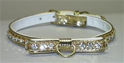 Gold Majestic BowTie Vinly and Rhinestone Dog Collar