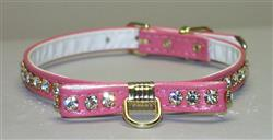 Pink Majestic BowTie Vinly and Rhinestone Dog Collar