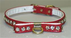 Red Majestic BowTie Vinly and Rhinestone Dog Collar