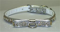 Silver Majestic BowTie Vinly and Rhinestone Dog Collar