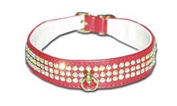 "Red Vinyl Majestic 3-Row Jeweled 1-1/8"" Tapered Collars"