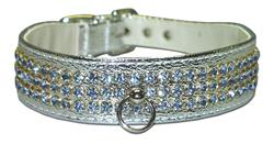 "Silver Vinyl Majestic 3-Row Jeweled 1-1/8"" Tapered Collars"