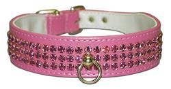 "Pink Vinyl Majestic 3-Row Jeweled 1-1/8"" Tapered Collars"