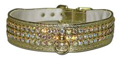 "Gold Vinyl Majestic 3-Row Jeweled 1-1/8"" Tapered Collars"