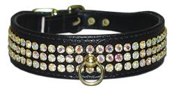 "Black Vinyl Majestic 3-Row Jeweled 1-1/8"" Tapered Collars"