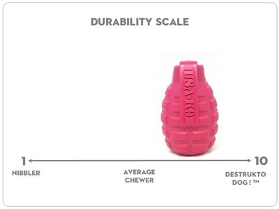 USA-K9 by SodaPup - Natural Rubber Grenade Shaped Dog Toy - Chew Toy - Treat Dispenser - Slow Feeder - for Aggressive Chewers - Made in USA - Pink