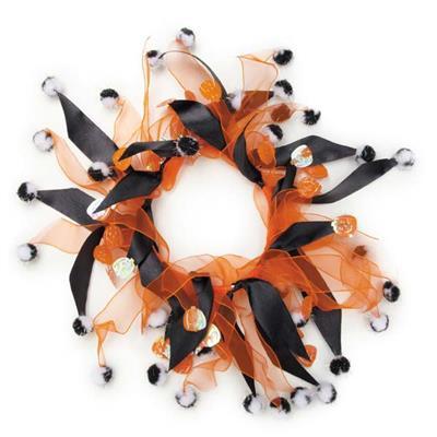 Aria Pumpkin & Pompom Scrunchy Clip Strip, 12-Pieces
