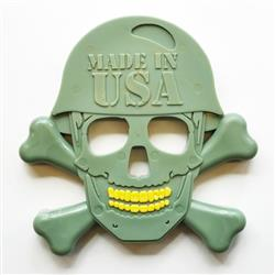 USA-K9 Nylon - Skull & Cross Bones - Green