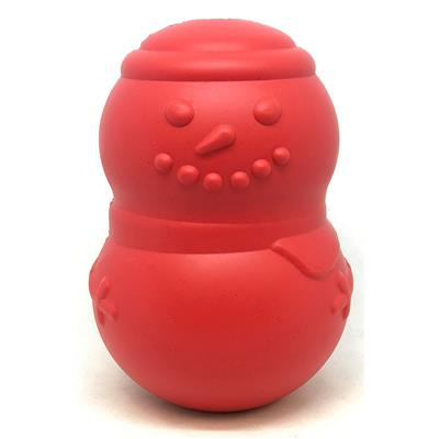 MuttsKickButt by SodaPup, Snowman Shaped Natural Rubber Chew Toy and Treat Dispenser for Aggressive Chewers, Guaranteed Tough, Made in USA, Large Red