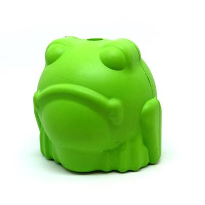MuttsKickButt by SodaPup Natural Rubber Bull Frog Shaped Chew Toy and Treat Dispenser for Aggressive Chewers, Guaranteed Tough, Made in USA, Large, Green