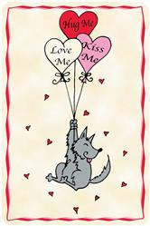 Crunch Card - Hug Me, Love Me, Kiss Me, Edible Greeting Card for Dogs
