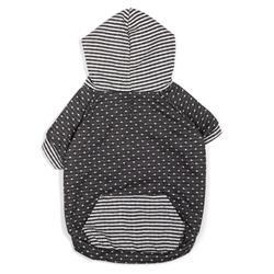 Dot/Stripe Hoodie Gray