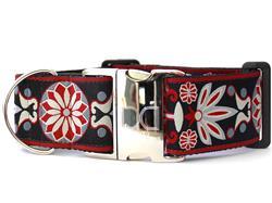 Mandala Star Carnelian Red Extra Wide Dog Collar