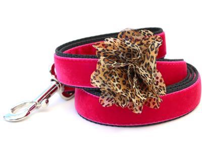 Pamela Pink Velvet Dog Leash