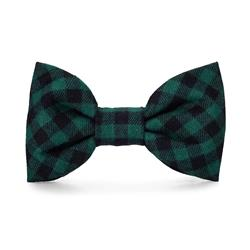 Green and Black Check Flannel Dog Bow Tie