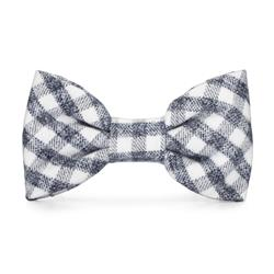 Gray and White Check Flannel Dog Bow Tie