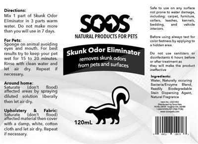 SOOS Skunk Odor Eliminator (120 ml / 4.05 oz)