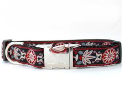 Carnelian Red Dog Collar Gold Metal Buckles