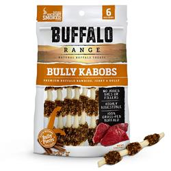 Buffalo Range Rawhide Dog Treats | Hickory Flavor | Jerky Kabob with Bullypiece