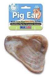 Pet Qwerks Nylon Pig Ear with Real Bacon Dog Chew Toy, Made in USA