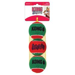 KONG Holiday SqueakAir Ball 3-pk Medium